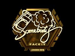 Sticker   somebody (Gold)   London 2018